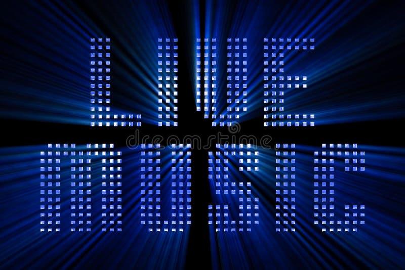 Text för ord för levande musik för tappning blå metallisk med ljus reflex och vektor illustrationer