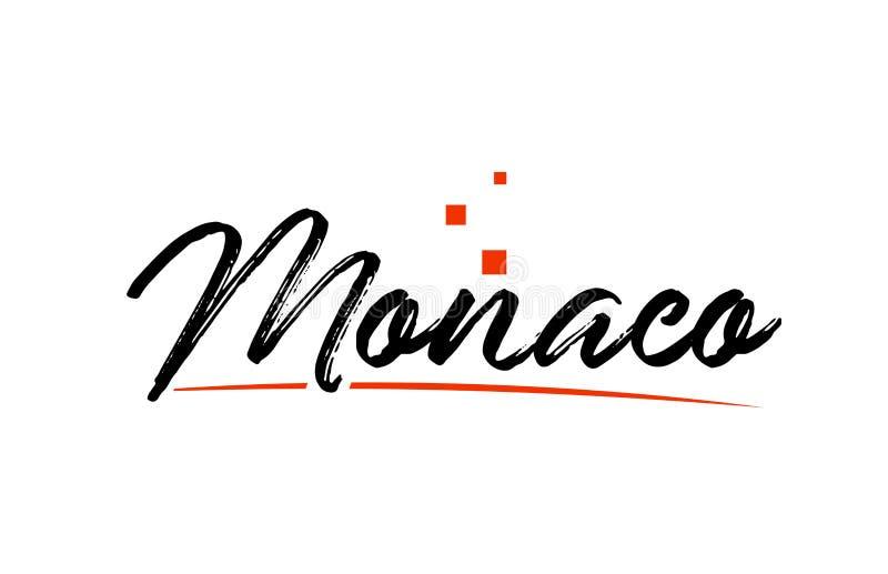 Text för ord för Monaco landstypografi för logosymbolsdesign royaltyfri illustrationer