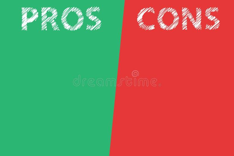 Text för ord för för- och nackdelbedömninganalys som är genomskinlig på delad röd bakgrund för listagräsplan stock illustrationer