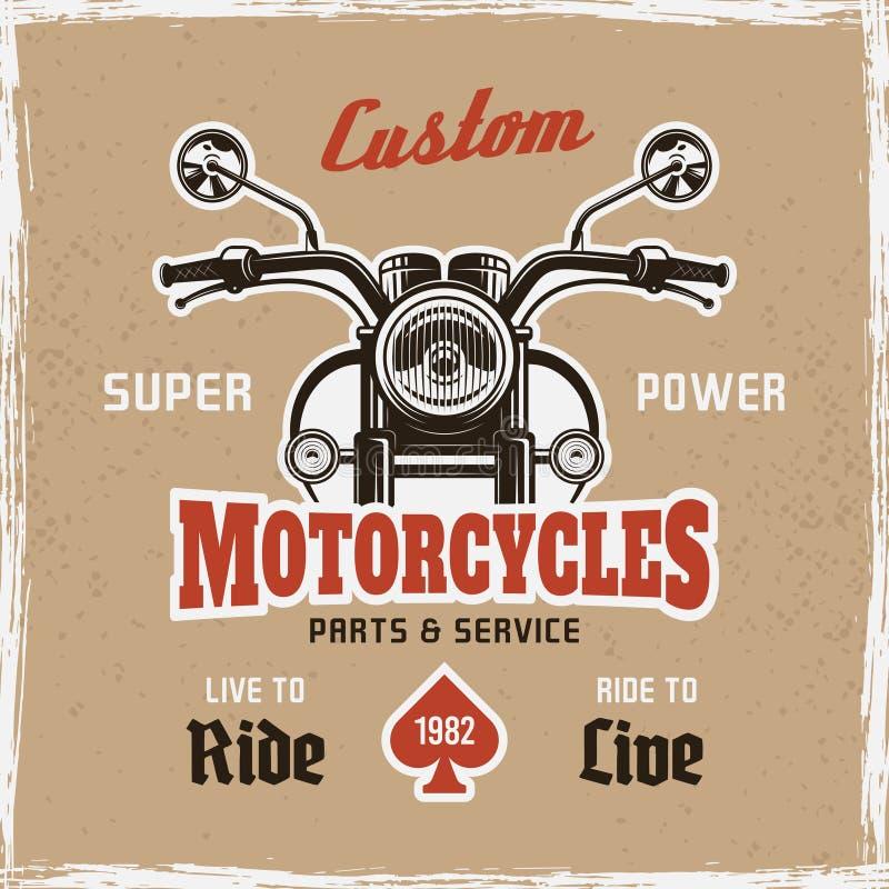 Text för prövkopia för affisch för tappning för främre sikt för motorcykel vektor illustrationer