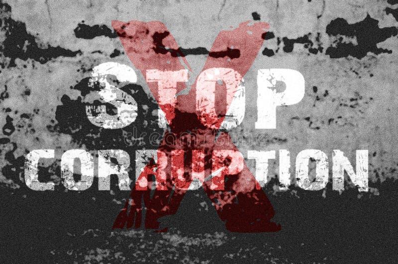 Text för stoppar korruption på grungebakgrund royaltyfri illustrationer