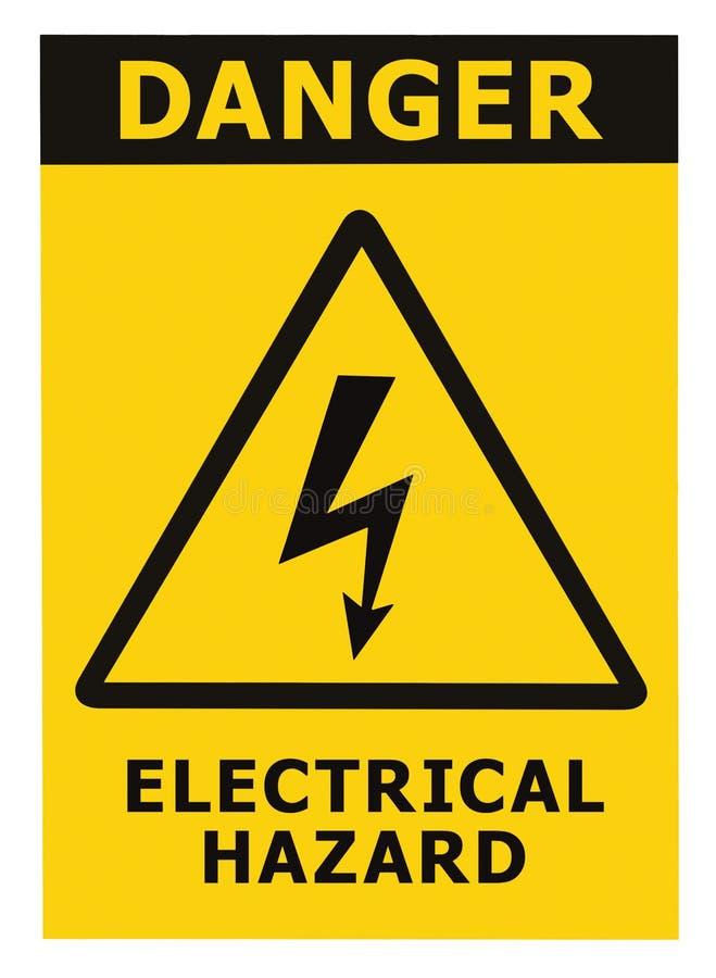 text för tecken för elektrisk fara för fara isolerad arkivbild