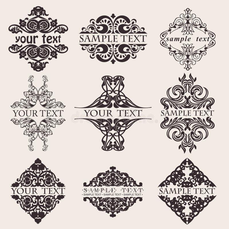 text för utsmyckad kvadrat för baner nio set royaltyfri illustrationer