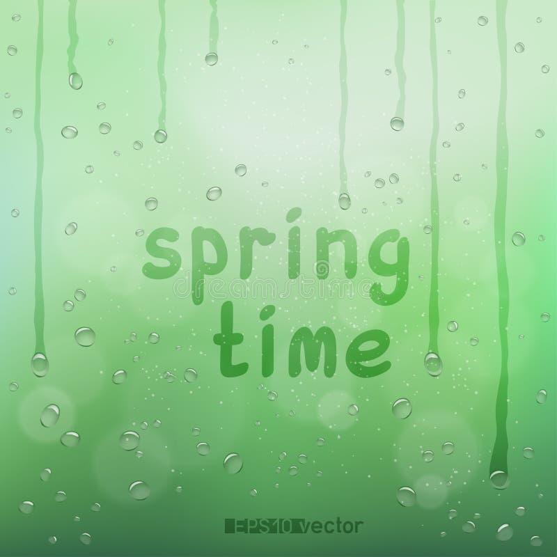Text för vårtid på oskarp regnbokeh stock illustrationer