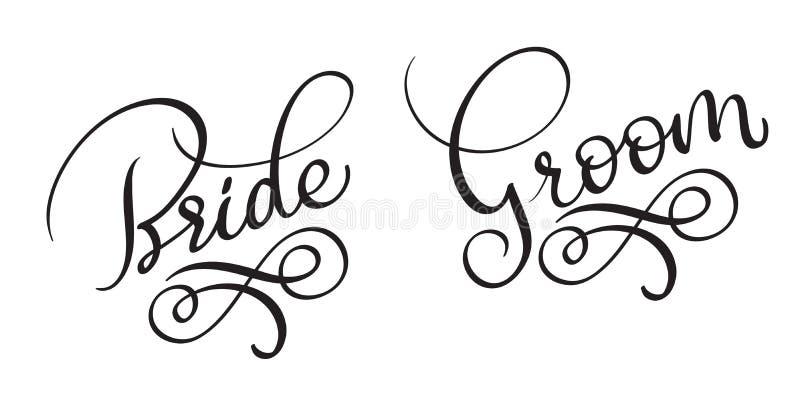 Text för vektor för tappning för brudbrudgum Hand dragen på vit bakgrund Kalligrafibokstäverillustration EPS10 royaltyfri illustrationer