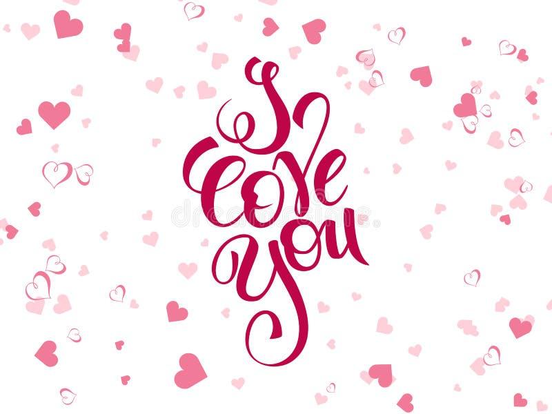 Text för vektorhandbokstäver - jag älskar dig - med hjärtaformer Kan användas som kort för valentindaghälsningar royaltyfri illustrationer