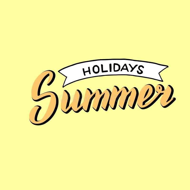 Text f?r sommarferier Moderiktig bokst?veraffisch stock illustrationer