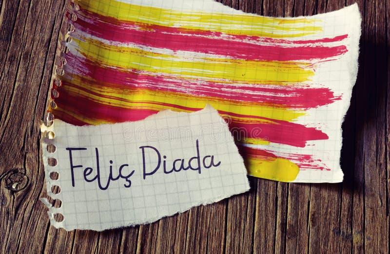 Text Felic Diada, Happy National Day of Catalonia in Catalan royalty free stock photos