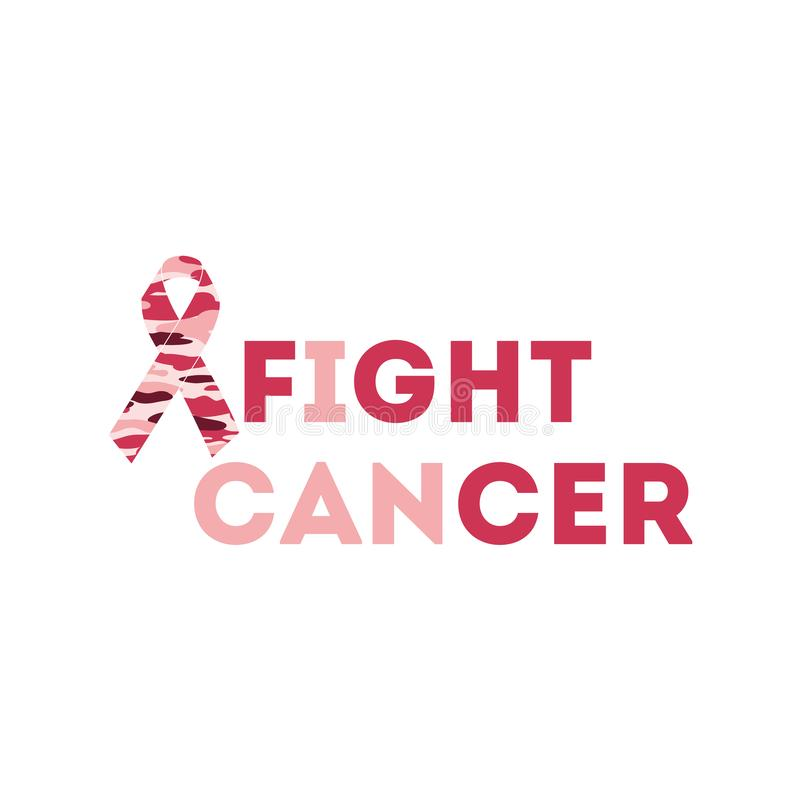 Text fight cancer Breast Cancer Awareness Month background design. Breast cancer awareness pink ribbon vector illustration