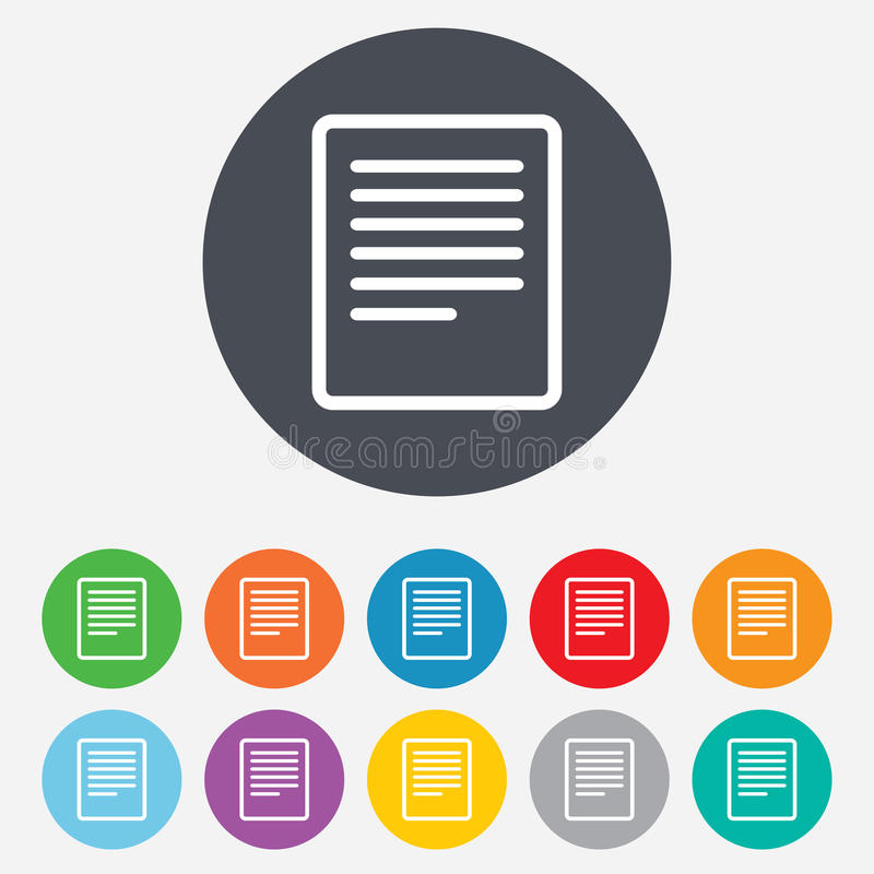 Text File Sign Icon. File Document Symbol. Stock Images