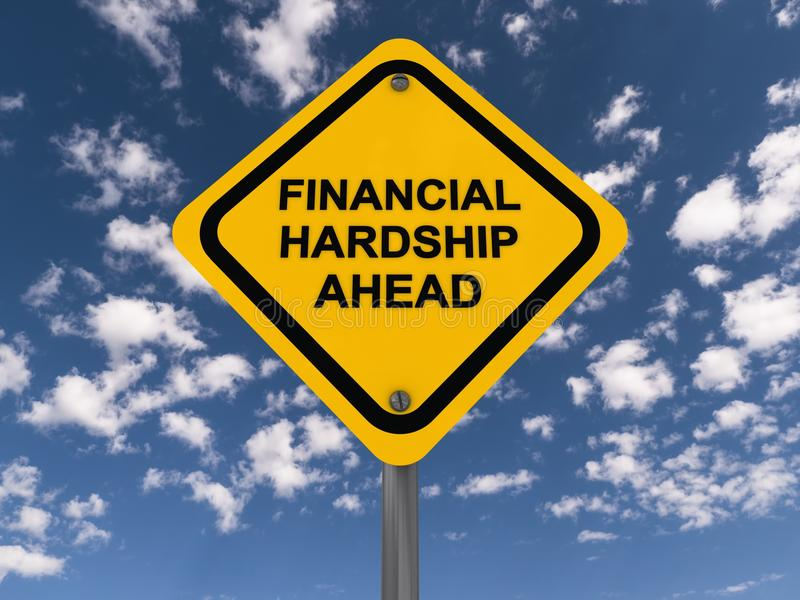 Financial hardship ahead. Text 'financial hardship ahead' in black uppercase letters on a yellow highway style board, blue sky and cloud background stock illustration