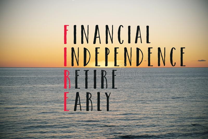Text financial independence retire early stock photography