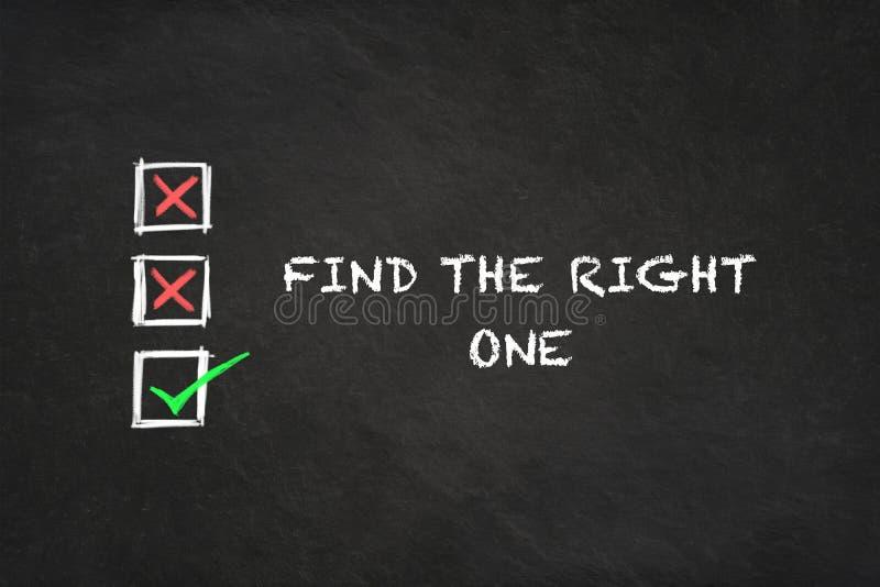 Text 'finna för rätten en 'med symboler i en svart tavla stock illustrationer