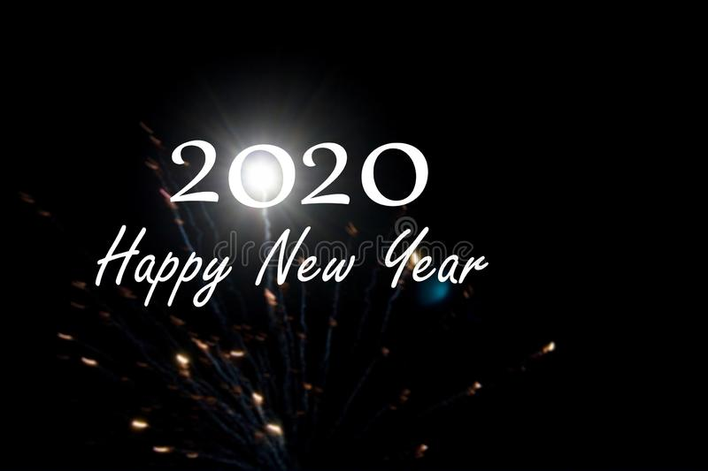 2020 Text with fireworks at night in black background, New Year 2020 party in the sky, 2020 New years Image firework. vector illustration