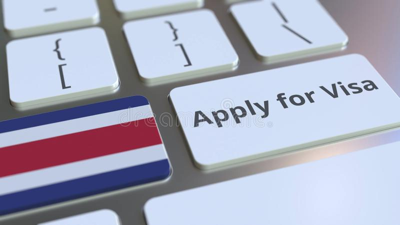 APPLY FOR VISA text and flag of Costa Rica on the buttons on the computer keyboard. Conceptual 3D rendering vector illustration