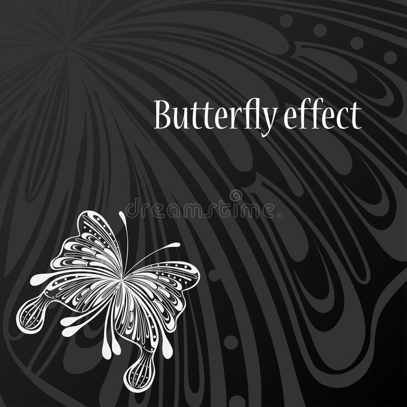 Text frame with abstract butterfly. Text frame with abstract white butterfly on black background vector illustration