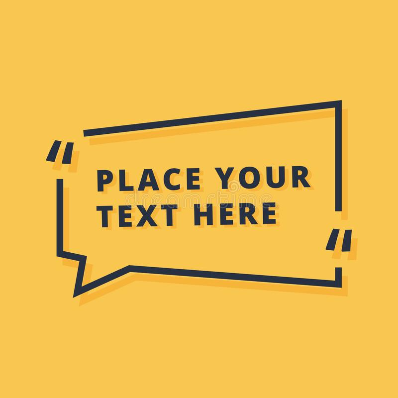 Text frame design vector illustration isolated on yellow background. Dialog icon with placeholder announcement stock illustration