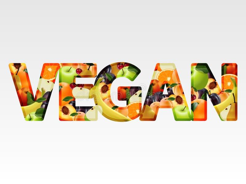 Text frutos suculentos do vegetariano em um fundo branco ilustração do vetor