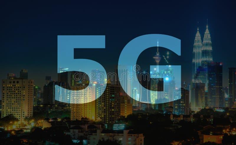 text 5G på Kuala Lumpur Malaysia royaltyfri fotografi