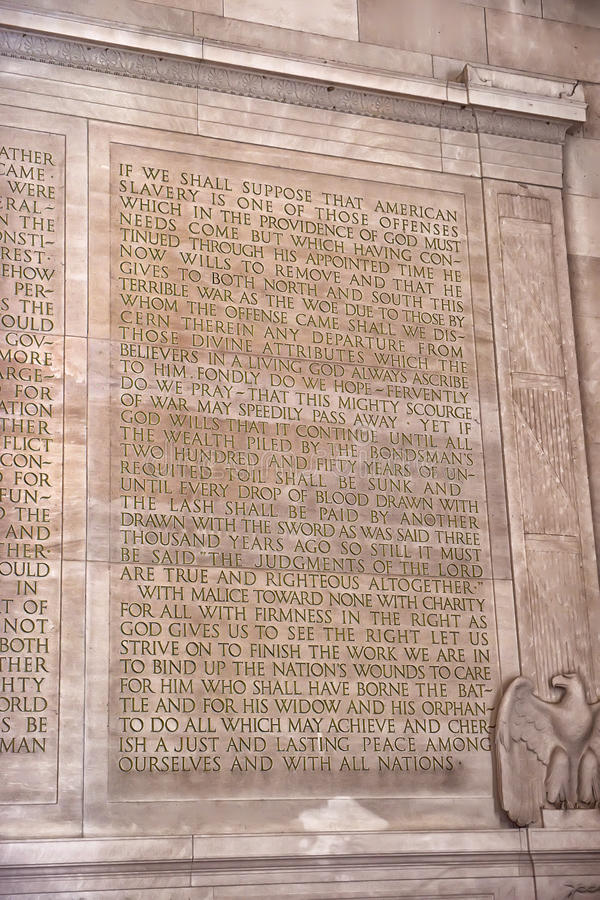 Text of the Gettysburg Address at the Lincoln Memorial in Washington, DC. This is the full text of President Abraham Lincoln's Gettysburg Address. The text royalty free stock images