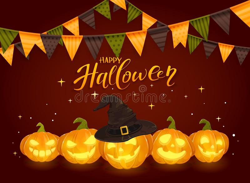 Text glückliches Halloween und Kürbise mit Wimpeln stock abbildung