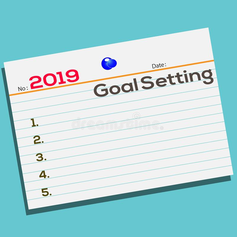 Text 2019 Goal Setting on notebook with creative design for your greetings card royalty free illustration