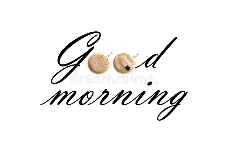 Text good morning. Arranged in creative way royalty free stock photo