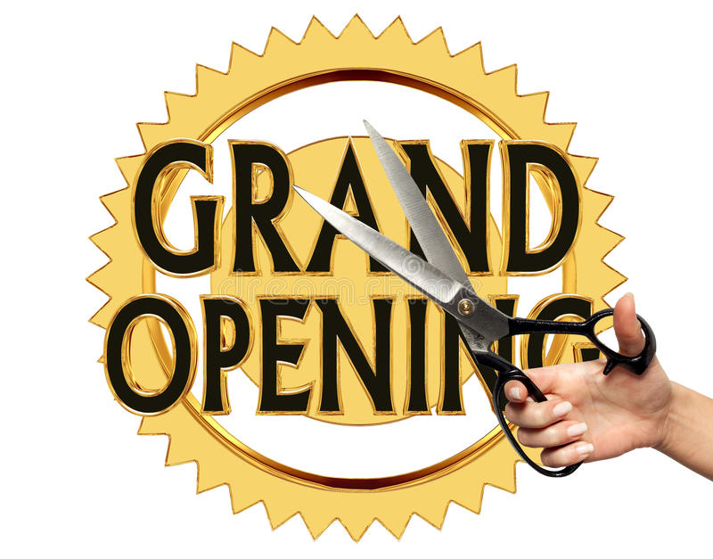 Text grand opening on a gold circle on a white background royalty free illustration
