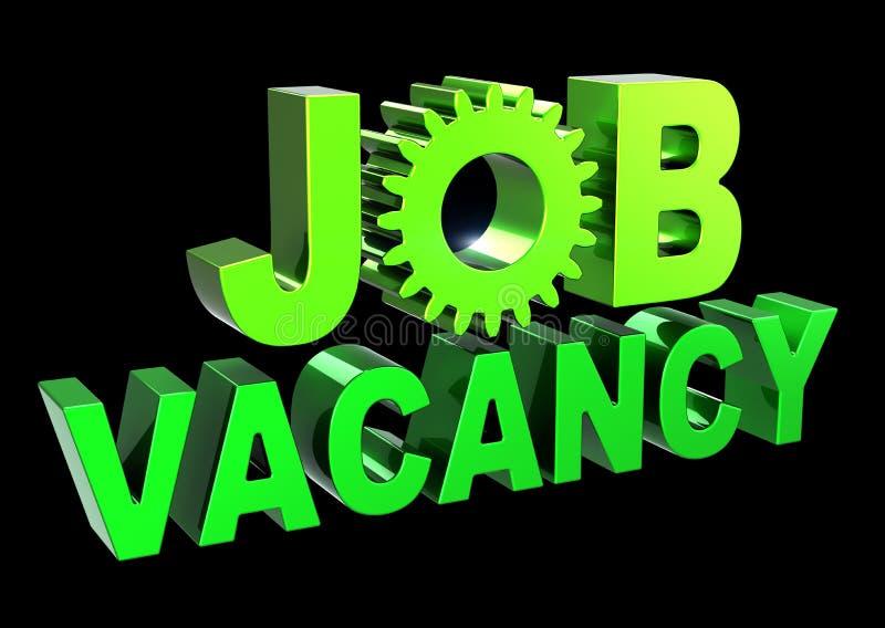 Text green JOB VACANCY unemployment banner gear wheel stock image