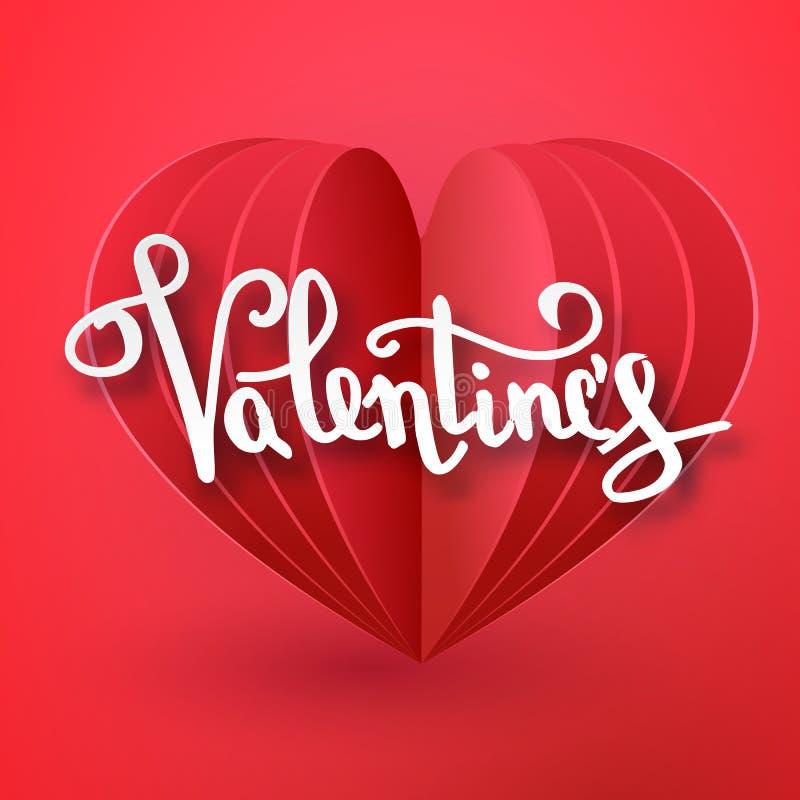 Text-Grußkarten-Kartendesign des glücklichen Valentinsgrußtagesvektors schnitt handgeschriebenes mit realistischem Papier 3d Herz stock abbildung