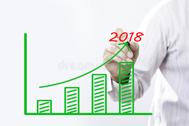 2018 text with hand of young businessman. Point on virtual graph green line and bar showing on increasing with background royalty free stock image