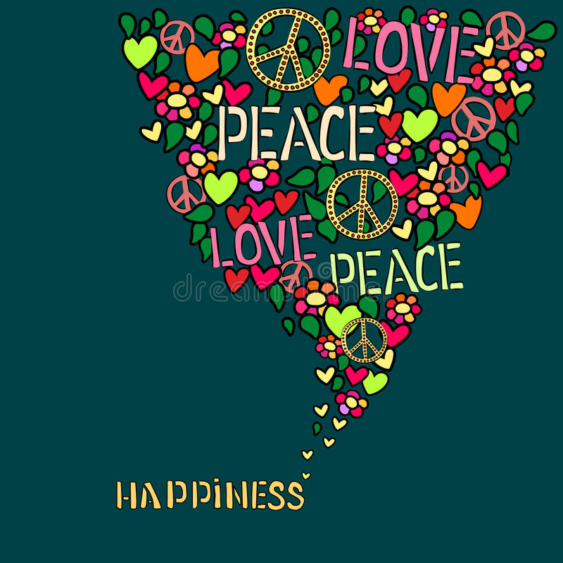 Text Happiness Love Peace And Pacifism Symbol In Colorful Collage