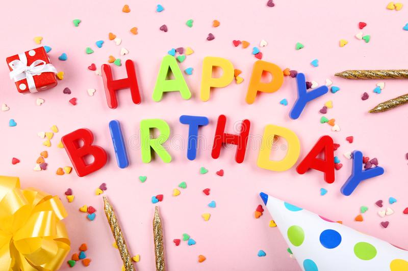 Text Happy Birthday by plastic letters stock images