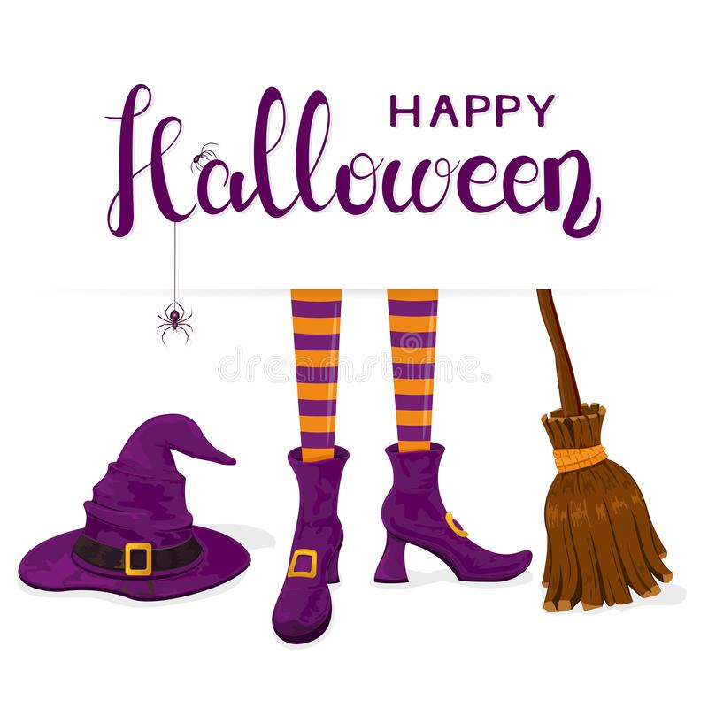 Text Happy Halloween with witches legs with purple hat and broom. Black spiders on lettering Happy Halloween with purple witches hat, legs in shoes and broom on royalty free illustration