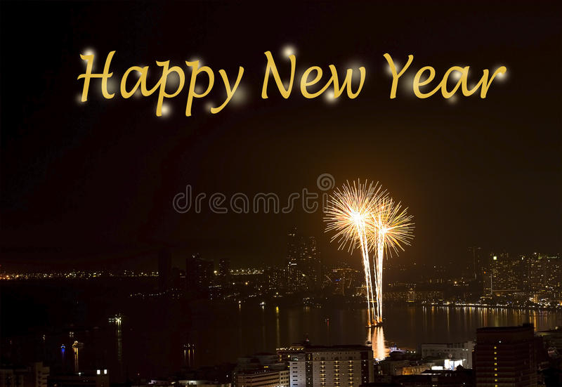 Text Happy New Year on Background of fireworks night scene stock photography