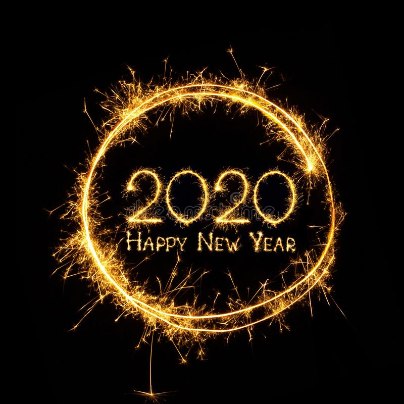 Text Happy New Year 2020 on black background royalty free stock image