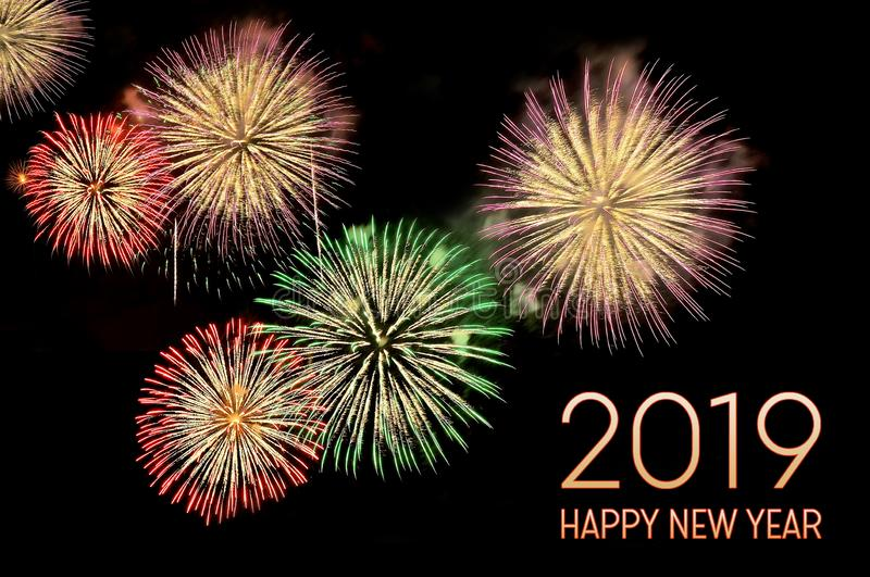 Text Happy new year 2019 and flashes of fireworks royalty free stock images