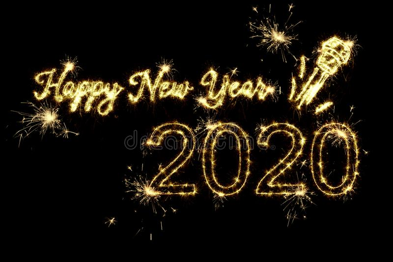 Text Happy New Year 2020 with a flying champagne cork written sparkling sparklers fireworks isolated on black background. Overlay template for new year royalty free stock photos