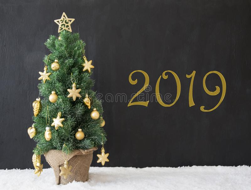 Green Christmas Tree, Text 2019, Black Concrete Background stock photography
