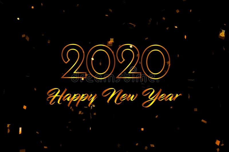 Text HAPPY NEW YEAR with golden ribbon on black background. Text HAPPY NEW YEAR with golden ribbon on black background stock photo