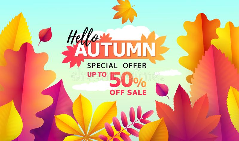 Text Hello Autumn, discounts from 50. Autumn Seasonal sale. Up to 50 off. Vector Background of falling leaves vector illustration