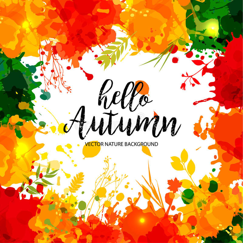 Text Hello Autumn in frame in paper style on multicolor blots ba stock illustration
