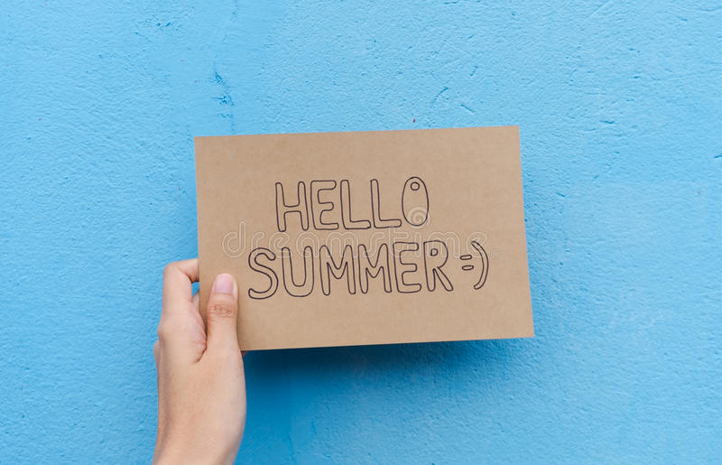 Download Text Hello Summer On Brown Paper Background Stock Image   Image Of  Cool, Wallpaper