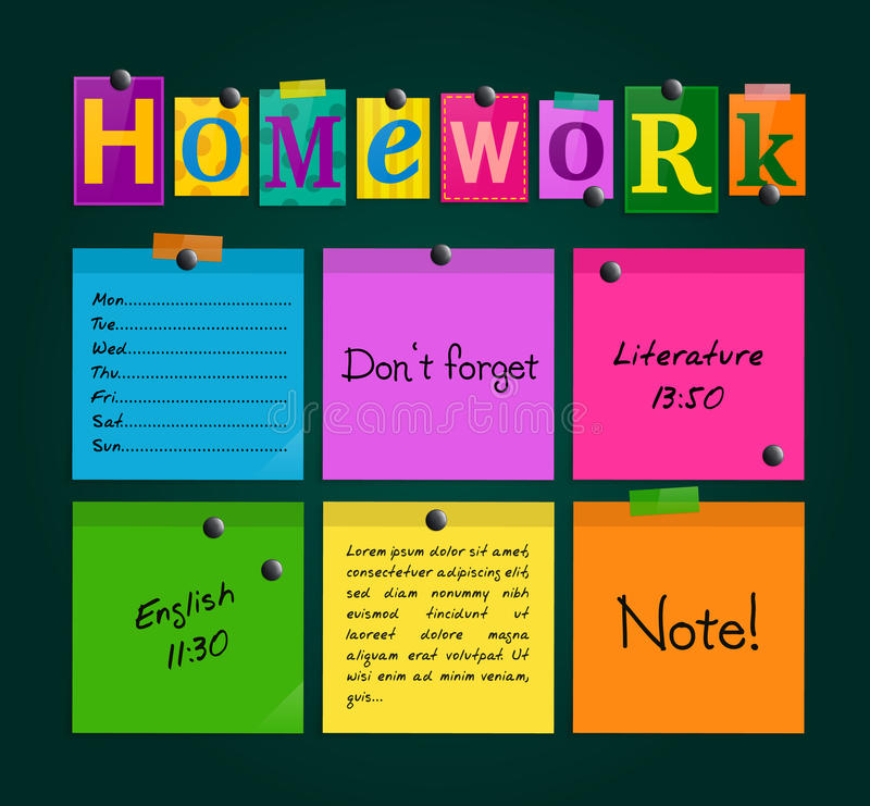 Text Homework and colorful sticky paper attached to a blackboard with magnets. Vector. Text Homework and colorful sticky paper attached to a blackboard with royalty free illustration