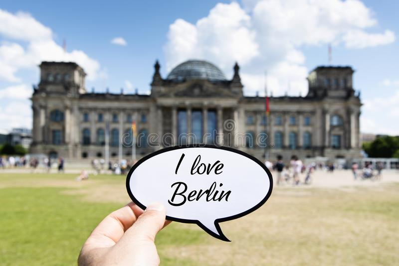 Text I love Berlin in front of the Reichstag stock image