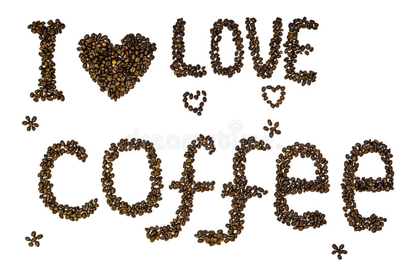 Text & x22;I love coffee& x22; made of roasted coffee beans isolated on a white background stock photography