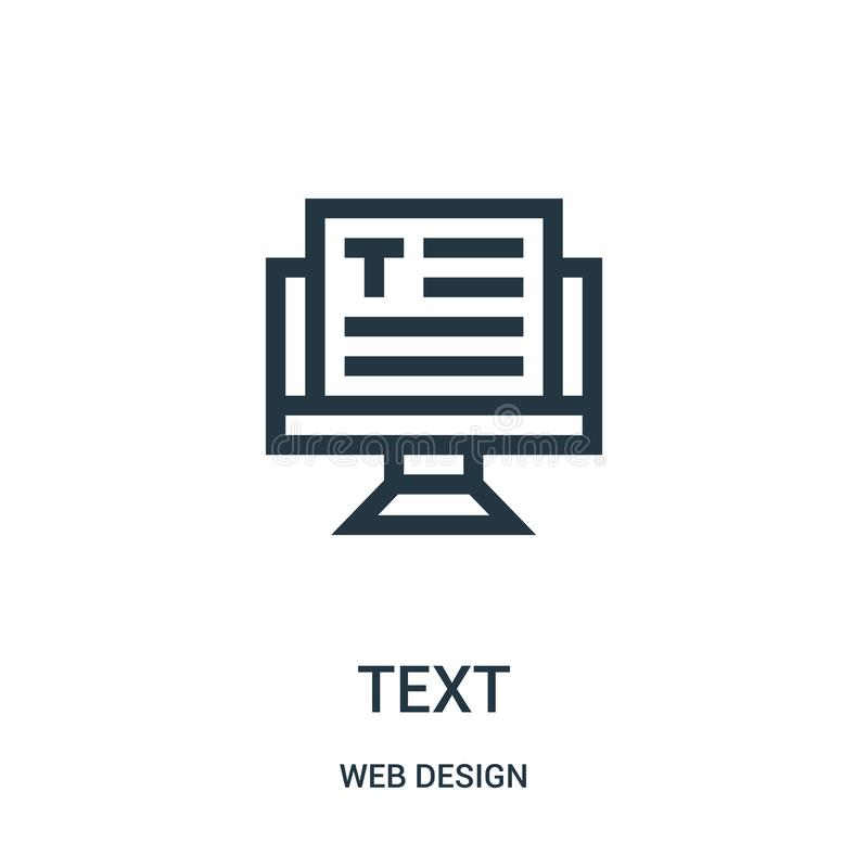 text icon vector from web design collection. Thin line text outline icon vector illustration royalty free illustration