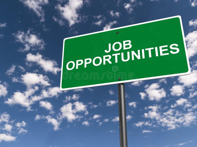 Job opportunities. Text 'job opportunities' in white uppercase letters on a green highway style board on a steel post with background of blue sky and cloud royalty free stock images