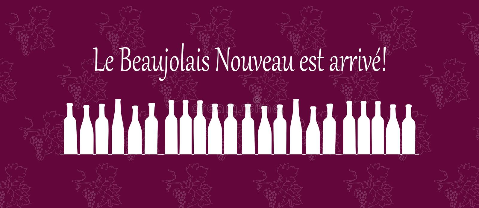 Text Le Beaujolais est arrive means the Beaujolais wine is coming. Handdrawing vector pattern with grapes. Wine party. Beaujolais Nouveau event in France stock illustration