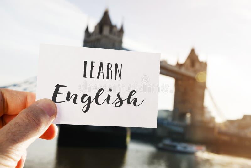 Text learn English in London, UK stock photo